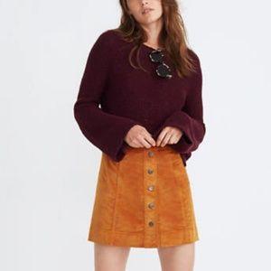 Madewell Velveteen A-Line Mini Skirt Sz 2 Mustard